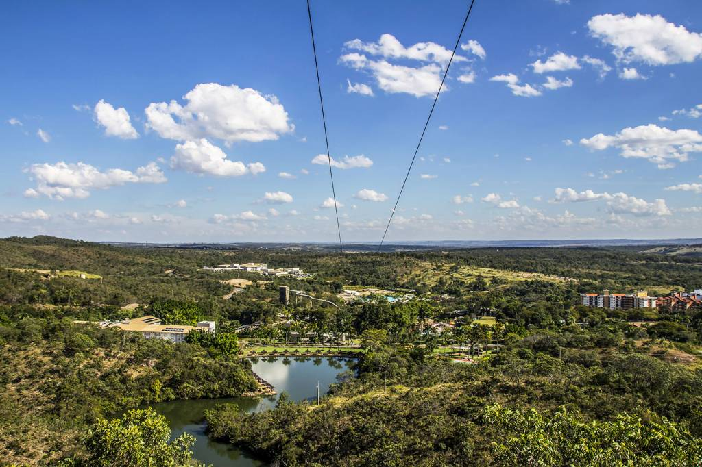 Vista aérea do Rio Quente Resorts, Goiás, Brasil