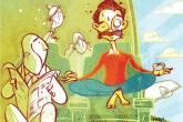 Ilustração mostra um homem de barba tentando meditar e levitando sobre uma poltrona de avião porque está com medo de viajar de avião