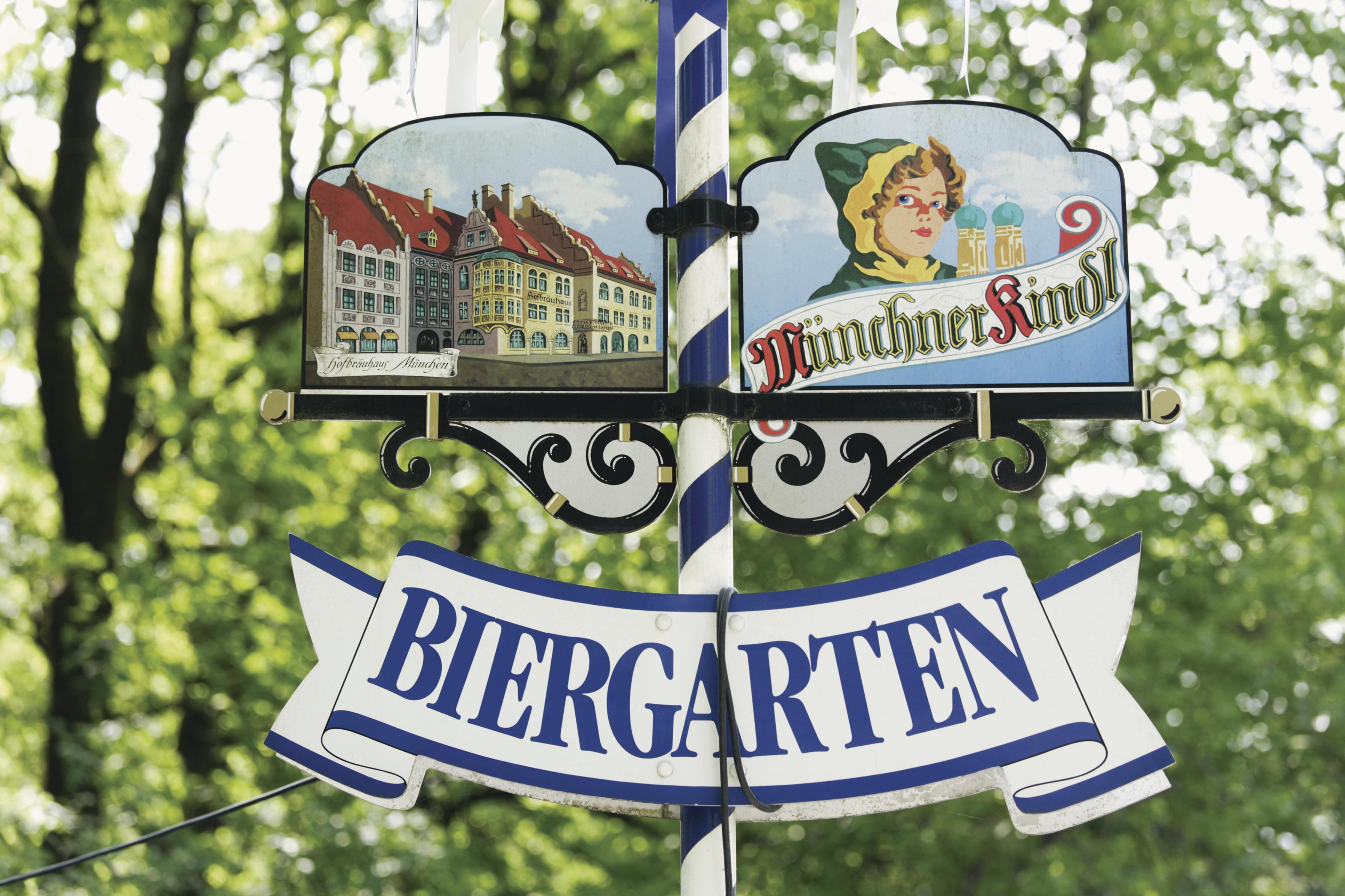 Placa de Biergarten, Munique, Alemanha