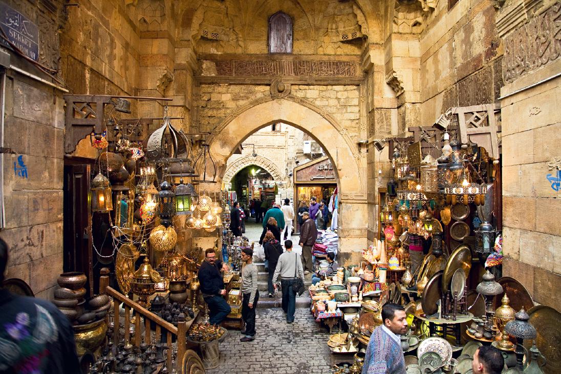 O bazar Khan el-Khalili, Cairo, Egito