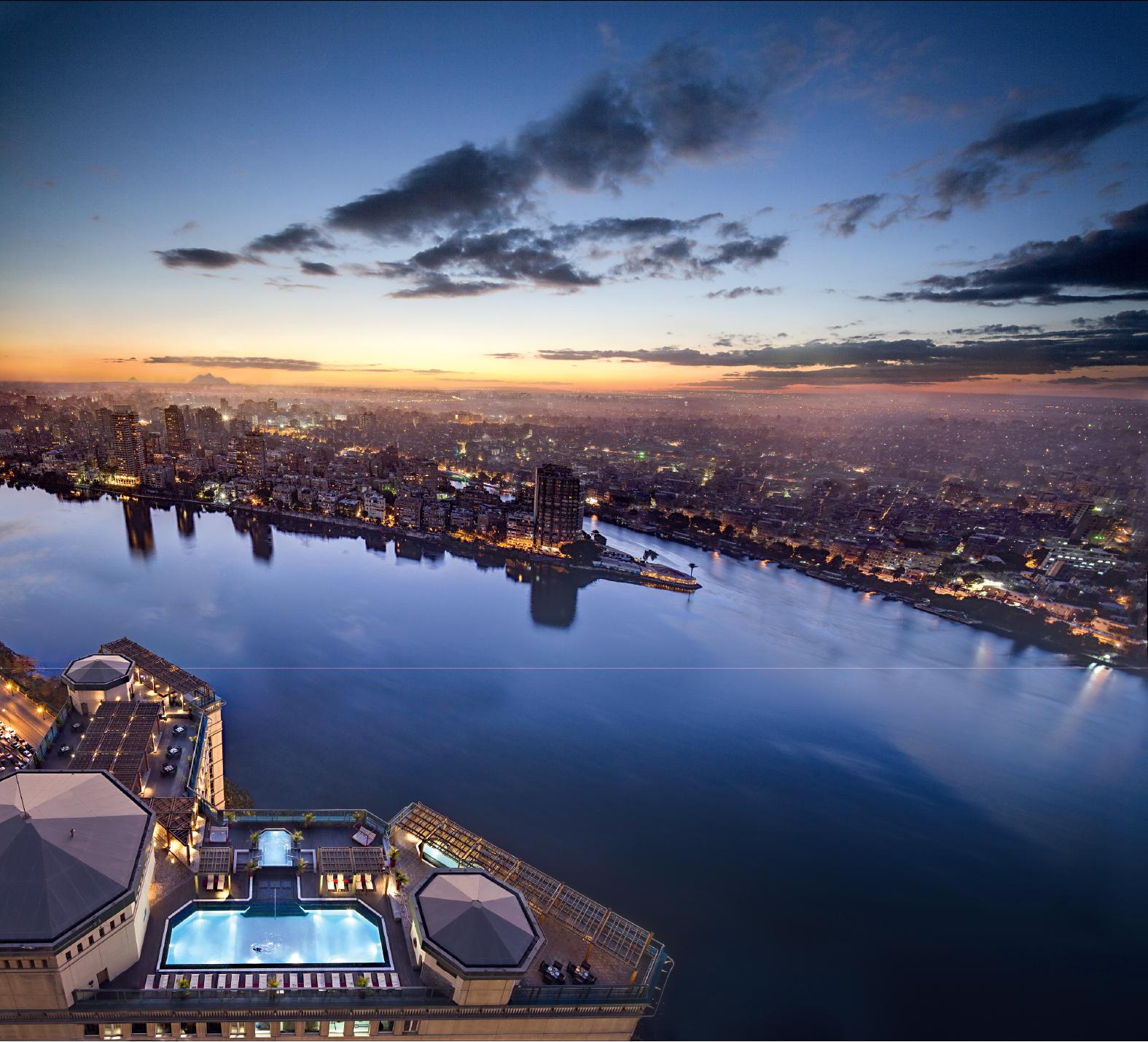Vista aérea do hotel Fairmont Nile City, Cairo, Egito