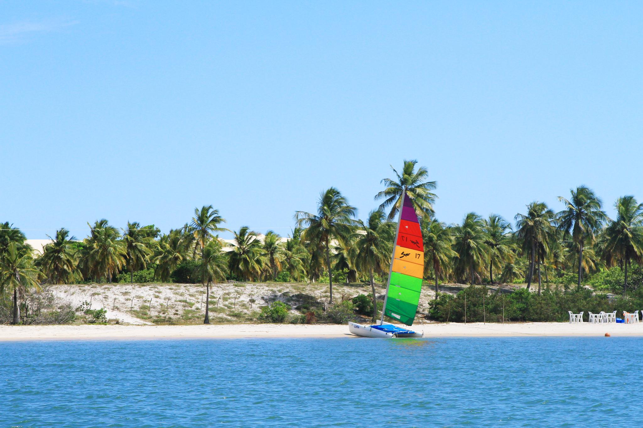 Vista da praia de Mangue Seco, no litoral sul da Bahia, durante o dia, com jangada de vela colorida atracada na areia e coqueiros e céu sem nuvens ao fundo