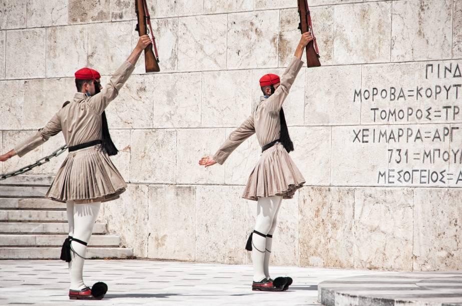 Troca de guarda no Parlamento em Atenas,Grécia