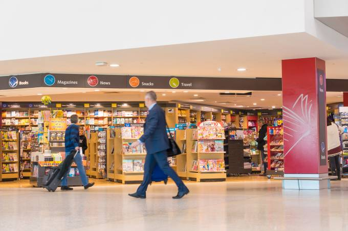 People and duty free bookshop in Melbourne Airport
