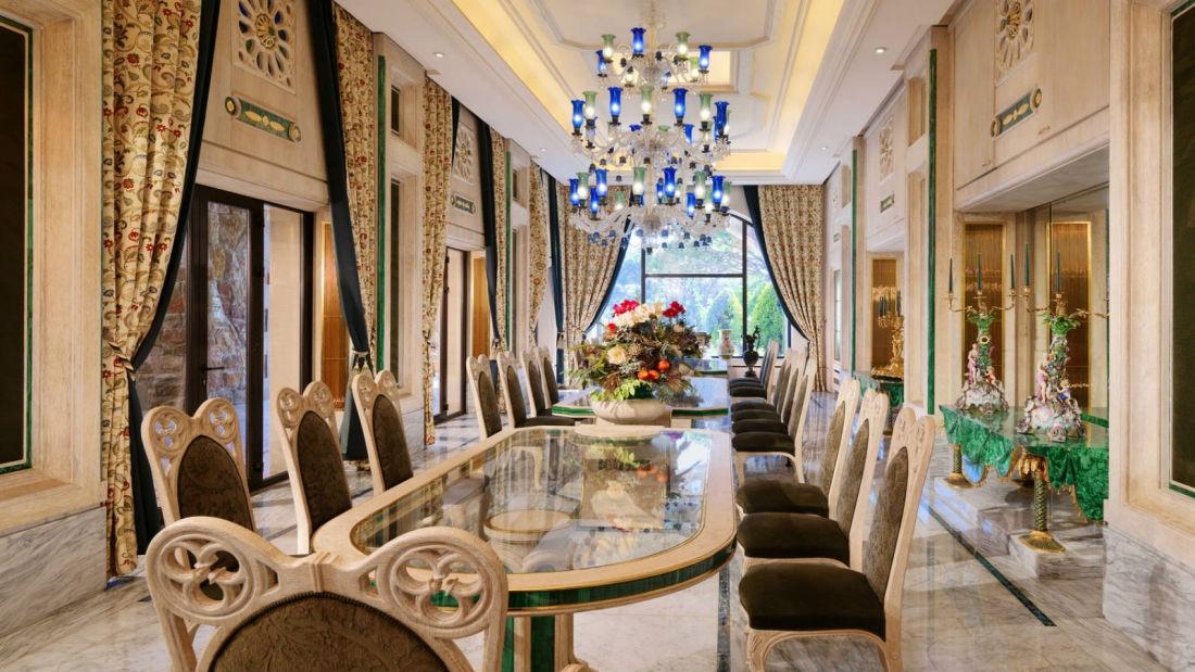 Sala de jantar da suíte recordista, perfeita para bater rangos milionários