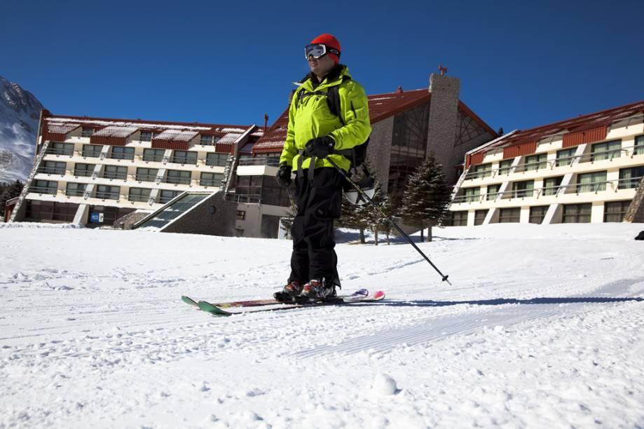 Em Las Leñas, com os esquis nos pés, você já sai esquiando dos hotéis, sem precisar de nenhum transporte para levá-lo até as montanhas