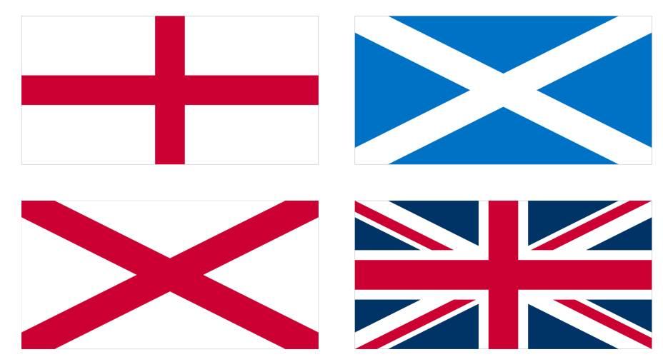 A famosa bandeira do Reino Unido, a Union Flag (também chamada de Union Jack), é a soma das bandeiras da Irlanda do Norte (com a cruz de Saint Patrick), da Inglaterra (cruz de São Jorge) e Escócia (cruz de Santo André). A insígnia não possui nenhum elemento que represente o País de Gales (anexado pela Inglaterra). A Union Flag está presente em bandeiras de outras nações do Commonwealth, como Austrália, Nova Zelândia, Fiji e Bermuda