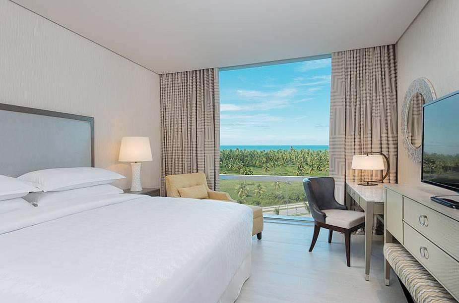 """<strong>Novidades do Ano: Sheraton Reserva do Paiva Hotel e Convention Center - <a href=""""http://viajeaqui.abril.com.br/cidades/br-pe-cabo-de-santo-agostinho"""" rel=""""Cabo de Santo Agostinho (PE)"""" target=""""_blank"""">Cabo de Santo Agostinho (PE)</a></strong>    Trata-se do primeiro grande empreendimento hoteleiro a se instalar no local. Os quartos são amplos e boa parte deles tem vista para o coqueiral e o mar."""