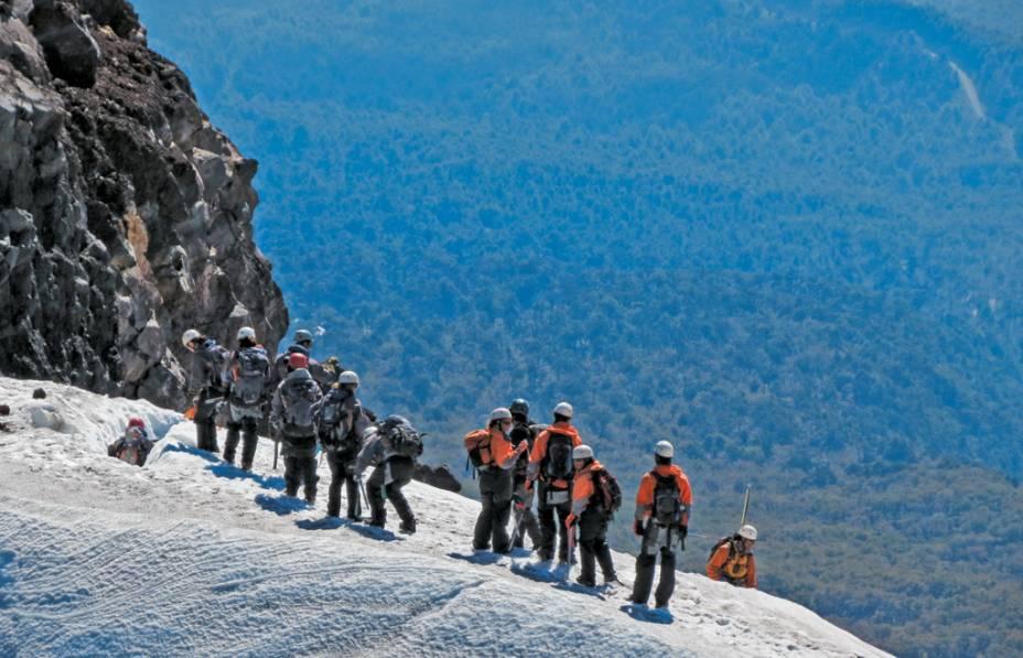 O grupo de escaladores nas neves eternas do Villarrica