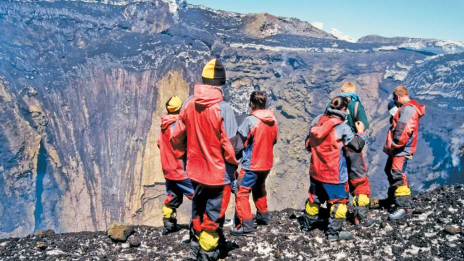 A chegada à cratera do Villarrica, a 2 847 metros de altura
