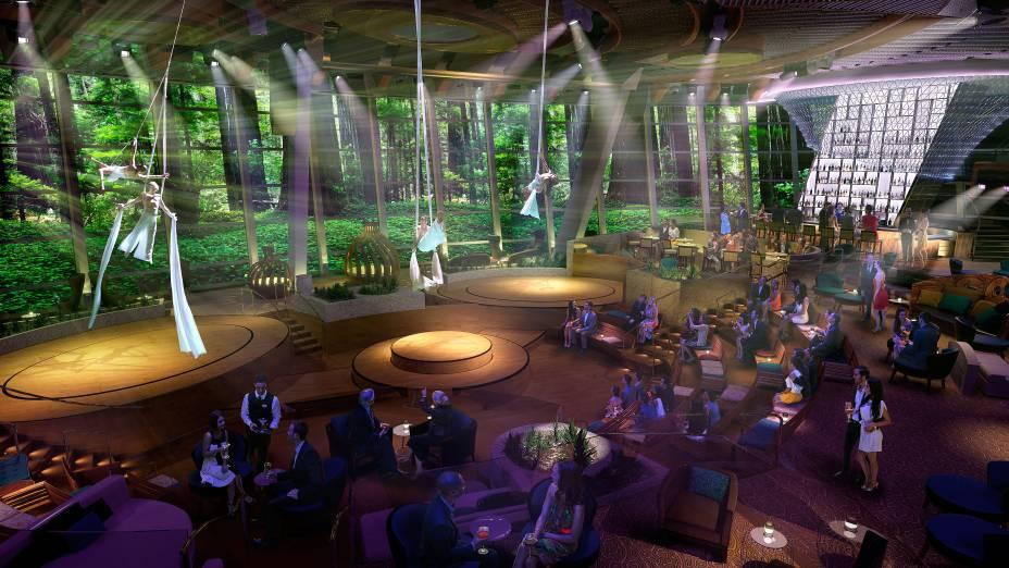 <strong>Vistarama</strong>Com paredes de vidro que vão do chão ao teto, o lounge se transforma em uma superfície onde serão projetadas cenas reais ou imaginárias