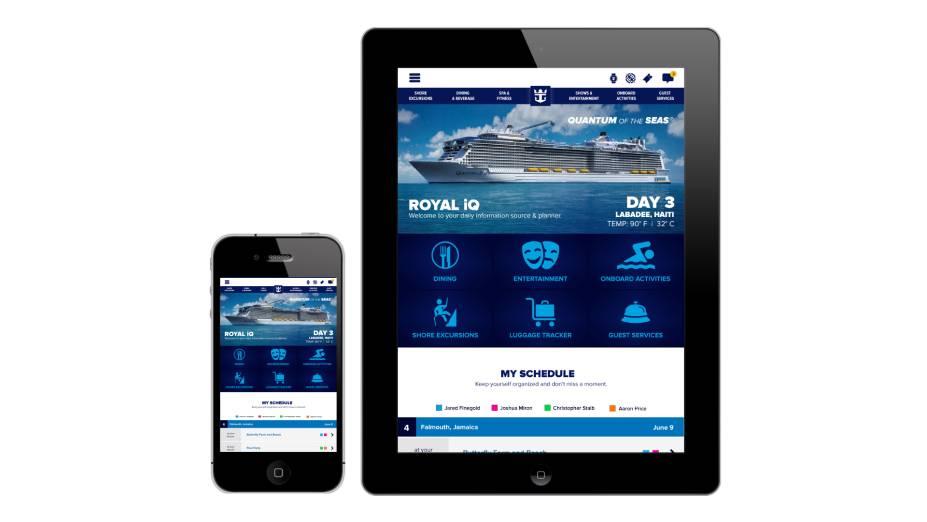 <strong>Aplicativo Royal iQ</strong>Com acesso pelos smartphones e tablets dos passageiros e também pelos totens espalhados pelos navios, o aplicativo possibilita organizar a programação de bordo e contatar outras pessoas
