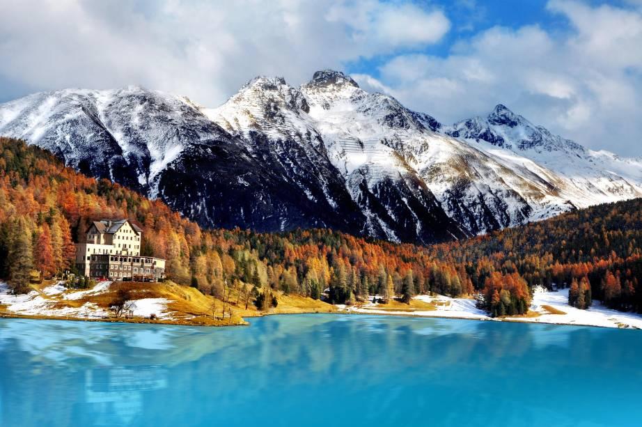 Paisagem exuberante de St. Moritz