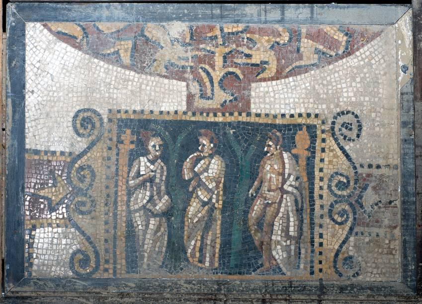 O fragmento de mosaico faz parte da mostraRoma – A Vida e os Imperadores, no Masp