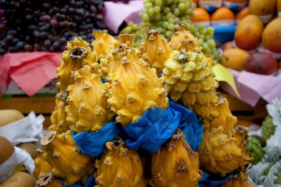 <strong>Pitaia Colombiana: </strong>uma espécie de cacto, a Pitaia colombiana tem propriedades digestivas e seu gosto é parecido com o do melão. A fruta costuma ser indicada para quem pretende regular o intestino