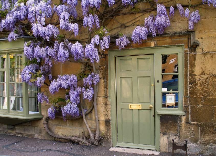 As casas de campo muitas vezes têm heras floridas que crescem rente às paredes, o que é um costume local
