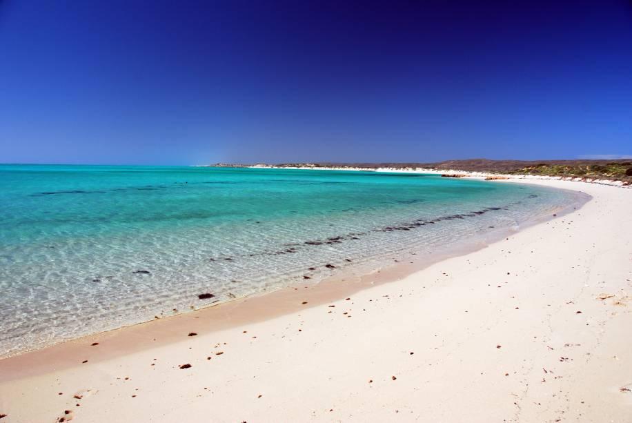 <strong>Costa de Ningaloo </strong>Trata-se de um dos maiores recifes do mundo perto da costa do continente, um paraíso para mergulhadores. As praias são maravilhosas, com areia branca e água cristalina. Se você tem planos de algum dia na vida mergulhar com tubarões, esse pode ser um bom destino: há passeios específicos para essa aventura