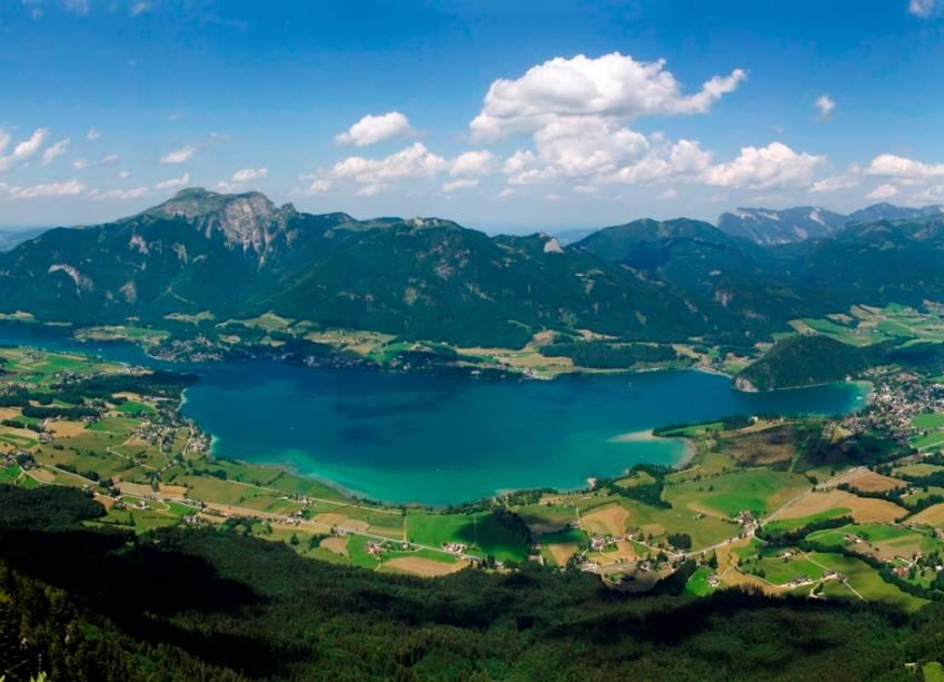 Vista aérea do lago Wolfgangsee