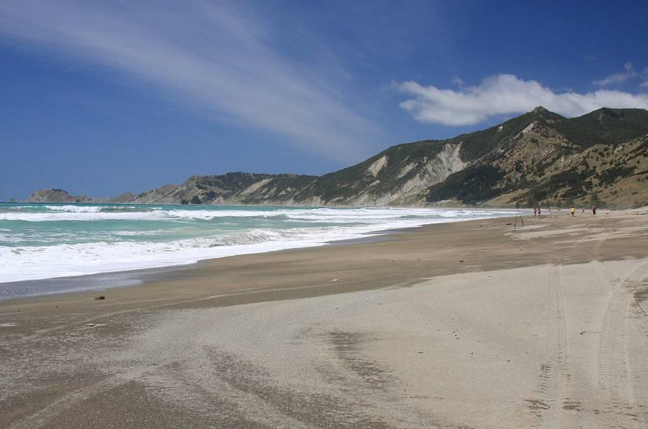 O mar esverdeado da baía Tokomaru forma um belo contraste com a areia escura
