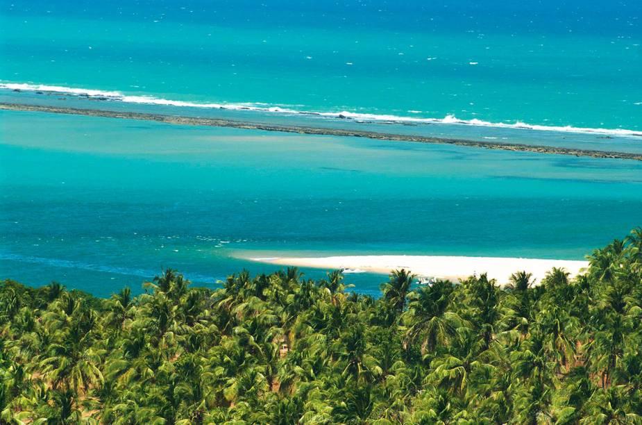 Na Praia do Gunga, os turistas podem aproveitar as lagoas, as falésias ou uma sombra embaixo do coqueiral