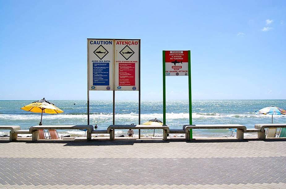 """Placas com avisos sobre os perigos de ataques de tubarão estão por toda a orla da <a href=""""http://viajeaqui.abril.com.br/estabelecimentos/br-pe-recife-atracao-praia-boa-viagem"""" rel=""""praia Boa Viagem"""" target=""""_blank"""">praia Boa Viagem</a>; para não correr riscos, nade sempre perto da faixa de areia"""