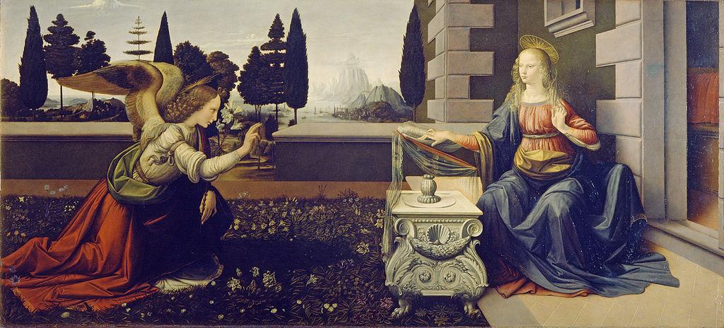 A Anunciação Leonardo da Vinci Galleria degli Uffizi Florença