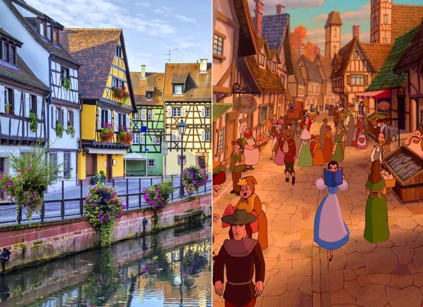 """<strong>Colmar, Alsácia, <a href=""""http://viajeaqui.abril.com.br/paises/franca"""" rel=""""França"""" target=""""_self"""">França</a> (<em>A Bela e a Fera</em>)</strong>    A princesa fascinada por livros vem de um pequeno e charmoso vilarejo francês, inspirado na cidade de Colmar. Antes de ser aprisionada em um castelo enfeitiçado, cujo dono é um príncipe transformado em besta por causa de seu comportamento arrogante e egoísta, ela percorria as ruas do lugar com seus melhores companheiros. Vai dizer que você não sentia vontade de passar por uma biblioteca local e comer um pão quentinho que saía da padoca?    <em><a href=""""http://www.booking.com/city/fr/colmar.pt-br.html?aid=332455&label=viagemabril-destinos-inspiradores-dos-estudios-disney"""" rel=""""Veja preços de hotéis em Colmar no Booking.com"""" target=""""_blank"""">Veja preços de hotéis em Colmar no Booking.com</a></em>"""