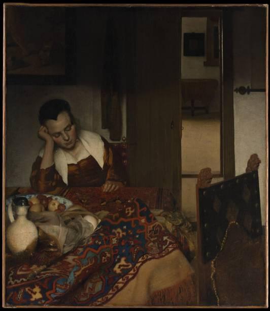A Maid Asleep (detalhe), de Johannes Vermeer, parte da galeria flamenca e holandesa do Met
