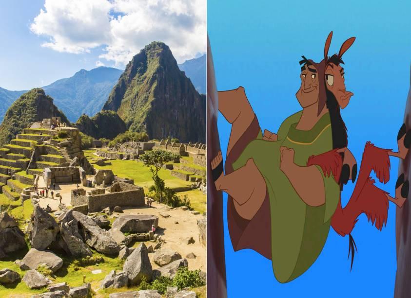 """<strong><a href=""""http://viajeaqui.abril.com.br/cidades/peru-machu-picchu"""" rel=""""Machu Picchu"""" target=""""_self"""">Machu Picchu</a>, <a href=""""http://viajeaqui.abril.com.br/paises/peru"""" rel=""""Peru"""" target=""""_self"""">Peru</a> (<em>A Nova Onda do Imperador</em>)</strong>    Os povos incas habitaram regiões que hoje correspondem às cidades de Machu Picchu e <a href=""""http://viajeaqui.abril.com.br/cidades/peru-cusco"""" rel=""""Cusco"""" target=""""_self"""">Cusco</a>. Essa última, aliás, dá nome ao imperador pilantra que protagoniza o filme, transformado em lhama pela feiticeira Yzma (<em>""""a velhota mais feia do que briga de foice""""</em>) e seu comparsa divertido, Kronk, depois de provocá-la com uma demissão. Seja pela história que paira sobre a região ou pelas trapalhadas nas quais o personagem se envolve com Pacha, vale a pena viver uma aventura por aqui    <em><a href=""""http://www.booking.com/city/pe/machupicchu.pt-br.html?aid=332455&label=viagemabril-destinos-inspiradores-dos-estudios-disney"""" rel=""""Veja preços de hotéis em Machu Picchu no Booking.com"""" target=""""_blank"""">Veja preços de hotéis em Machu Picchu no Booking.com</a></em>"""