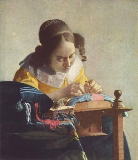 A Rendeira (detalhe), de Johannes Vermeer, é um diminuto quadro exposto no Louvre