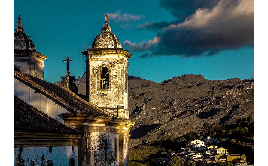 A vista em Ouro Preto, Minas Gerais.