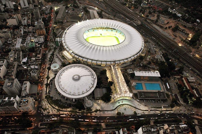 Vista aérea do estádio do Maracanã, no Rio de Janeiro