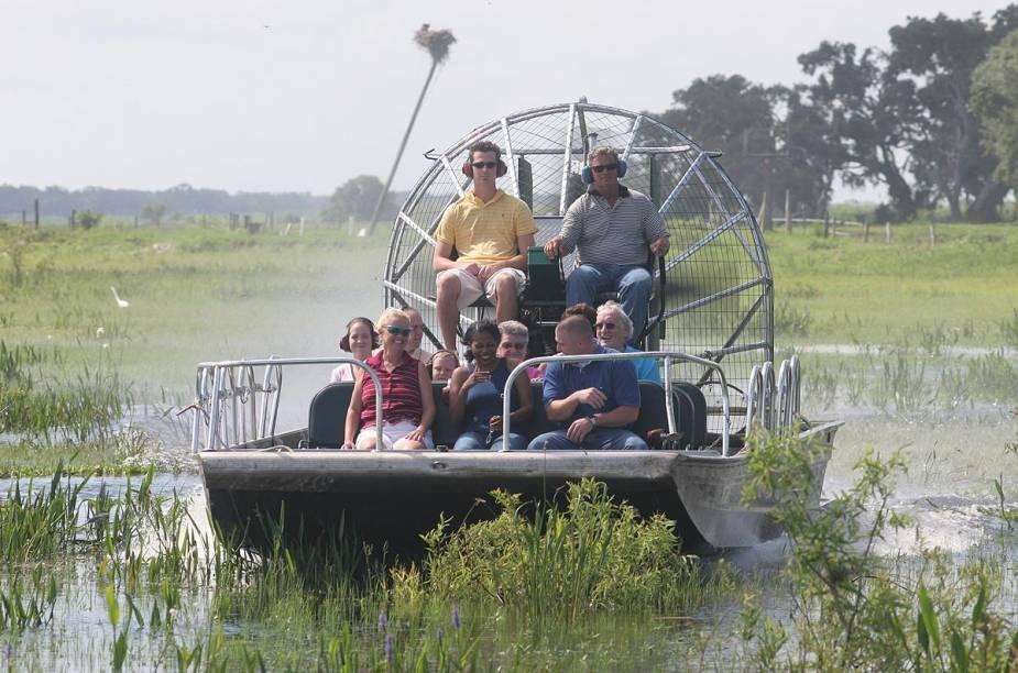 <strong>Airboat tour</strong>                                                                        O passeio de airboat leva turistas para regiões alagadas do lago Kissimmee; uma turbina gigantesca faz o barco sobrevoar o lago, evitando que animais sejam atingidos embaixo dágua por alguma hélice