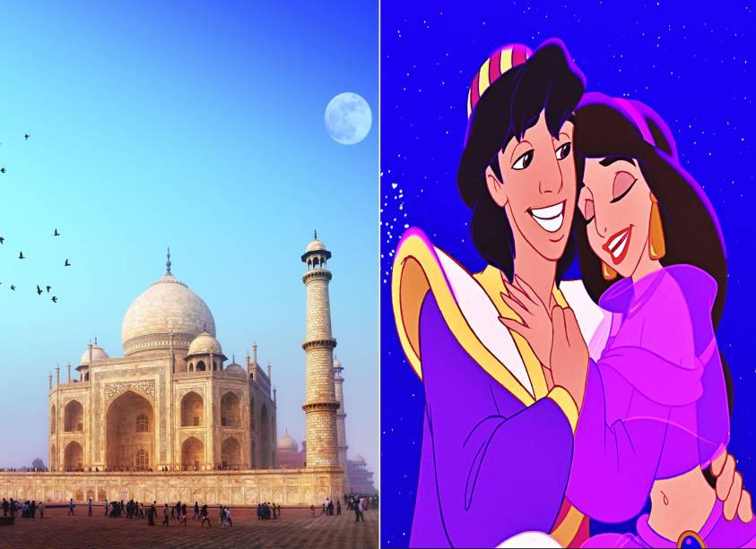 """<strong><a href=""""http://viajeaqui.abril.com.br/estabelecimentos/india-agra-atracao-taj-mahal"""" rel=""""Taj Mahal"""" target=""""_self"""">Taj Mahal</a>, <a href=""""http://viajeaqui.abril.com.br/cidades/india-agra"""" rel=""""Agra"""" target=""""_self"""">Agra</a>, <a href=""""http://viajeaqui.abril.com.br/paises/india"""" rel=""""Índia"""" target=""""_self"""">Índia</a> (<em>Aladdin)</em></strong>        As lendas do ladrão mais charmoso do Oriente Médio não poderiam ser esquecidas pelos estúdios Disney. As aventuras do rapaz com o Gênio da lâmpada, juntamente com o amor que sente por Jasmine, a filha do sultão, fizeram sucesso entre os pequenos. Mas se for se inspirar no desenho para fazer sua viagem, opte pela construção que inspirou o palácio da princesa: o mausoléu mais famoso do mundo, tombado como Patrimônio Mundial da Unesco        <em><a href=""""http://www.booking.com/city/in/agra.pt-br.html?aid=332455&label=viagemabril-destinos-inspiradores-dos-estudios-disney"""" rel=""""Veja preços de hotéis em Agra no Booking.com"""" target=""""_blank"""">Veja preços de hotéis em Agra no Booking.com</a></em>"""