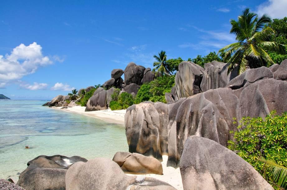 Anse Source dArgent, na ilha La Digue, em Seychelles
