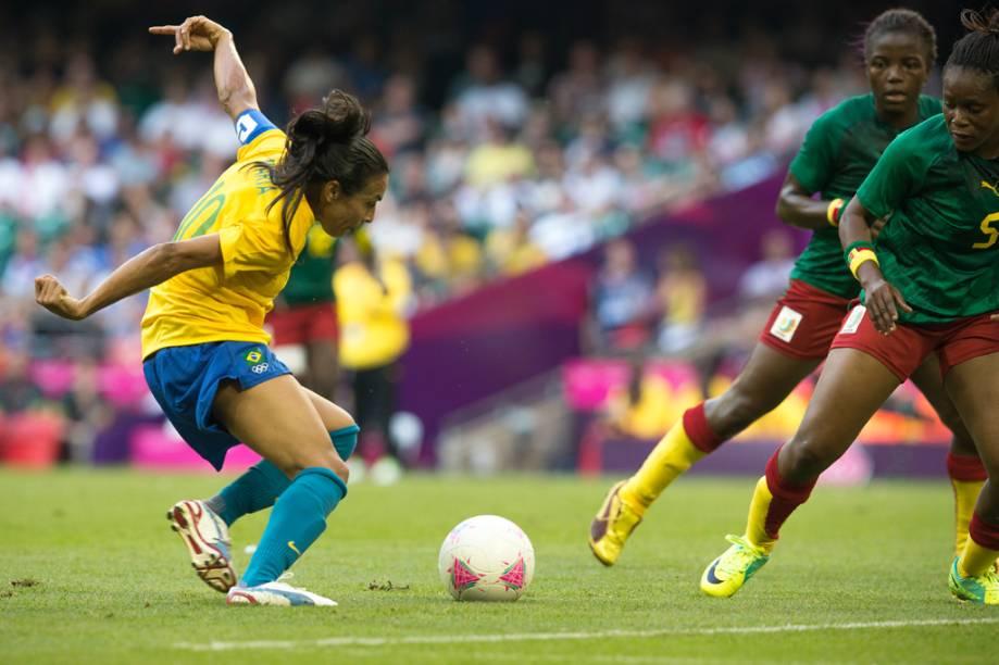 Marta, craque da Seleção Brasileira feminina de futebol, durante a vitória contra Camarões, nos Jogos Olímpicos de Londres 2012