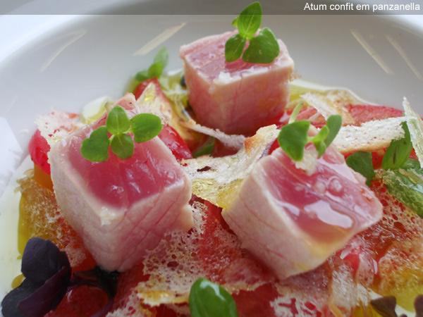 Prato da chef Roberta Sudbrack: atum confit em panzanella