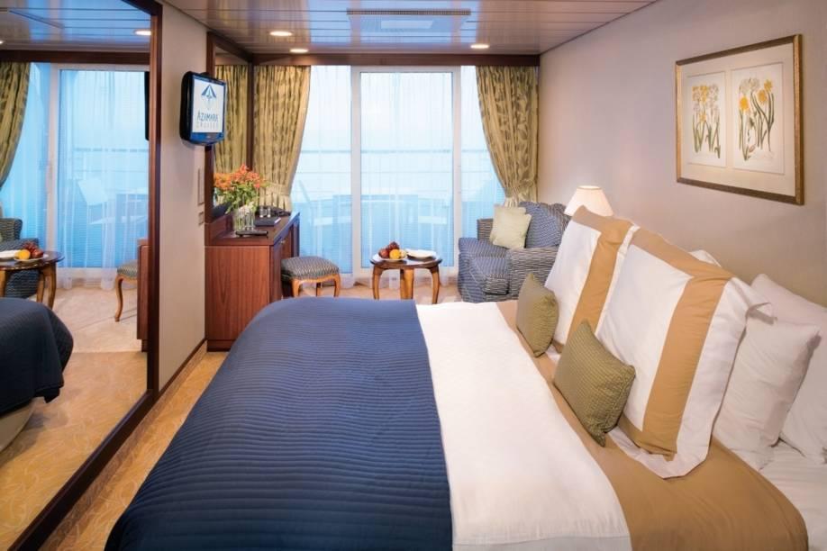 Suíte do navio de cruzeiros Azamara Quest, da companhia Royal Caribbean International.