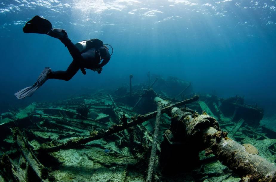 """<a href=""""http://viajeaqui.abril.com.br/paises/bahamas"""" rel=""""Bahamas"""" target=""""_blank""""><strong>Bahamas</strong></a>São mais de 700 ilhas e duas mil ilhotas em águas caribenhas onde o sol brilha o ano inteiro, que atraem turistas interessados em naufrágios e na fauna subaquática. O mar azul turquesa tem visibilidade de cerca de 70 metros. New Providence é um dos principais destinos para mergulho, localizada sobre cavernas, """"blue holes"""", e um abismo submarino. É lá onde acontece uma das principais atrações de Bahamas: mergulho e alimentação de tubarões. Outro ponto de visitação de mergulhadores é Grand Bahama, onde os turistas podem ter contato com tubarões e golfinhos, além de conhecer o navio THEO´s, naufragado artificialmente.Um destino não tão famoso como New Providence e Grand Bahama, é Bimini. Entre as atrações, estão recifes rasos e profundos, paredões e o navio norte-americano Sapona. Bimini é excelente para a prática de snorkelling. A temperatura média da água é de 24°C e a melhor época para visitar as Bahamas é entre os meses de abril e setembro, para evitar a da temporada dos furacões. A língua oficial das ilhas é o inglês e a moeda é o bahamian dólar."""