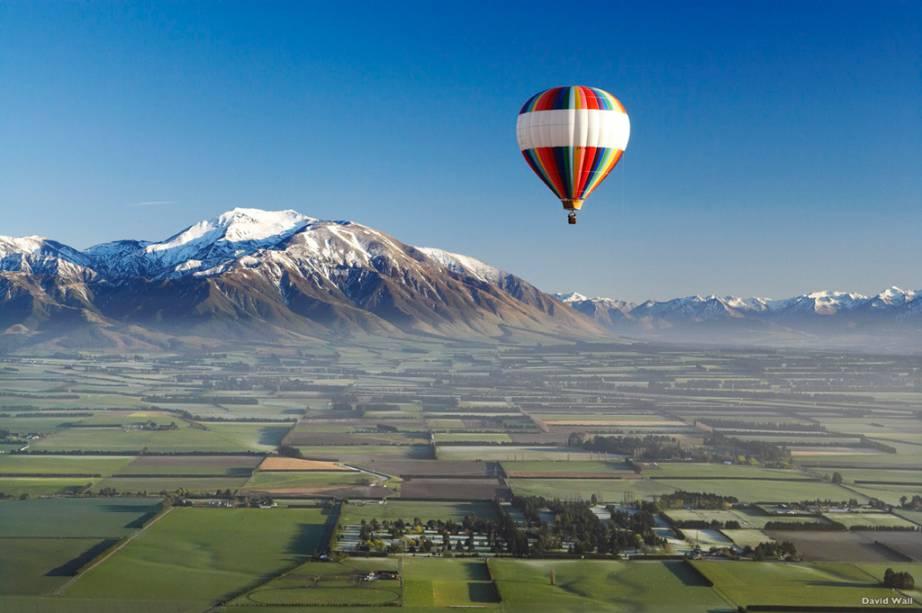 Voos de balão sobre os Canterbury Plains são passeios populares a partir de Christchurch