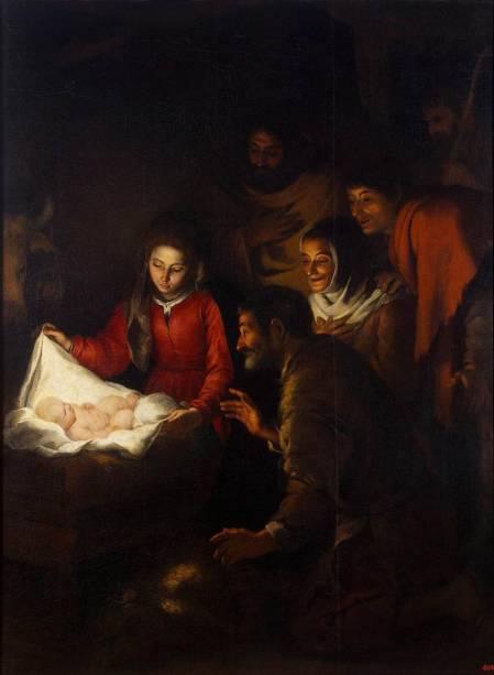 Adoração dos Pastores (detalhe), de Murillo, no Hermitage de São Petersburgo
