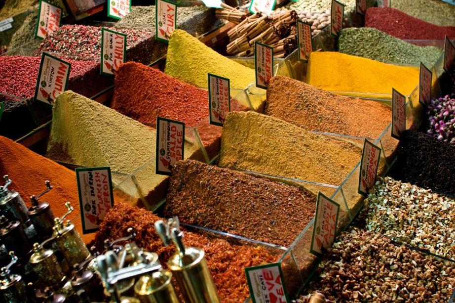 Mostruário no Bazar de Especiarias, em Istambul