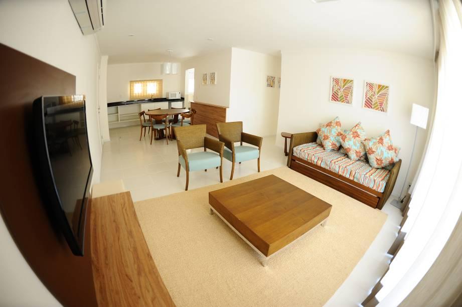 Apartamentos amplos com sala e cozinha foram projetados para receber toda a família