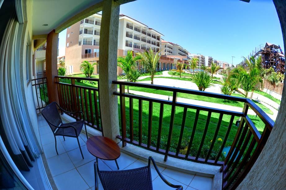 Varanda de um dos apartamentos doBeach Park Wellness Resort