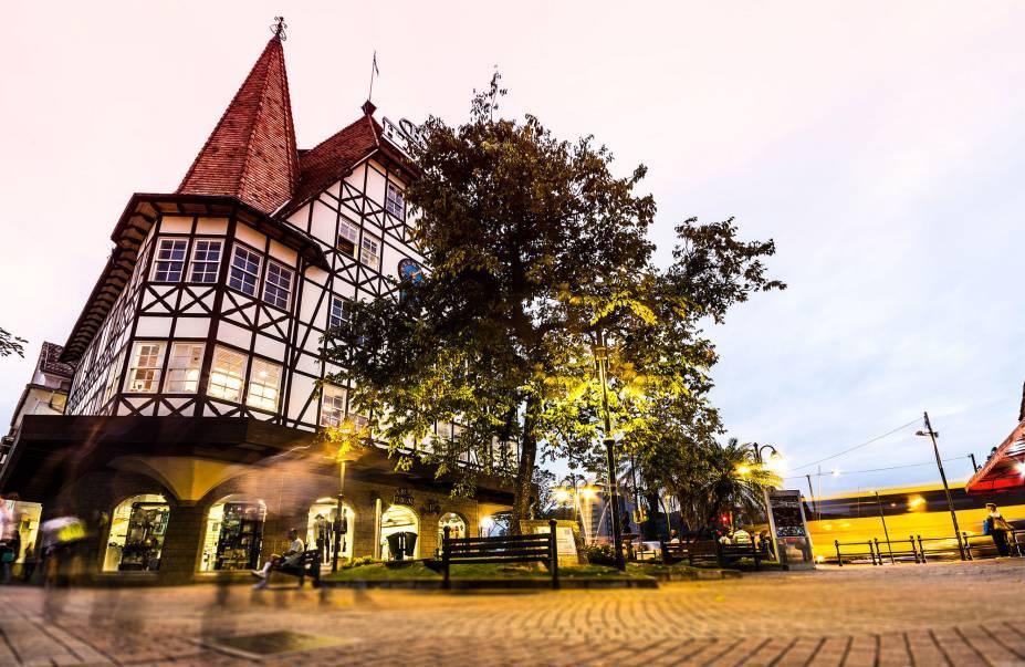 O agradável centrinhoblumenauense, com casas em estilo enxaimel, típico da Alemanha