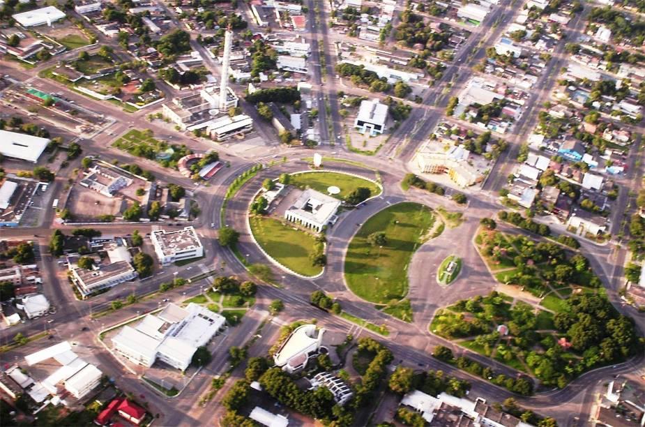 Vista aérea do Centro Cívico de Boa Vista mostra que a cidade foi planejada em forma de leque