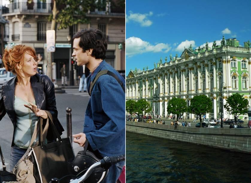 """<strong>Bonecas Russas <a href=""""http://viajeaqui.abril.com.br/cidades/russia-moscou"""" rel=""""(Moscou, Rússia)"""">(Moscou, Rússia)</a></strong><br />        São Petesburgo, que já foi batizada de Petrogrado (1914) e de Leningrado (1991), é a cidade principal da película. Xavier Rousseau (Romain Duris, à dir.) tem uma carreira insatisfatória como escritor e diversos romances inconclusos. Cinco anos depois de passar um verão em Barcelona junto com Wendy (Kelly Reilly, à esq.), Martine (Audrey Tautou) e Isabelle (Cécile de France), o quarteto se reencontra na cidade russa. Em meio à indecisão de Rousseau entre as """"bonecas russas"""", o filme exibe vistas como a do <strong>Teatro Mariinsky</strong> e a do <strong>Rio Neva</strong>, que banha o <strong>Hermitage</strong> (foto), um dos museus mais importantes do mundo"""