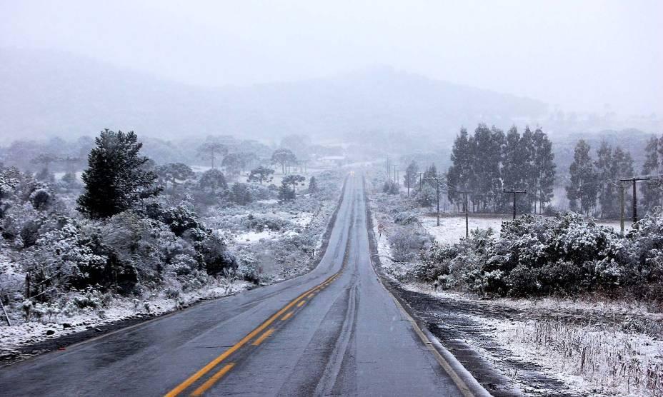 A neve é a grande estrela de São Joaquim: durante o inverno, as ruas ficam repletas de turistas