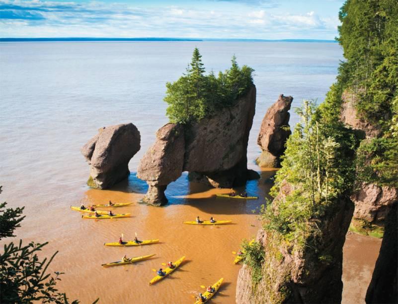 As formações rochosas Giant Flowerpots, em Hopewell Rocks