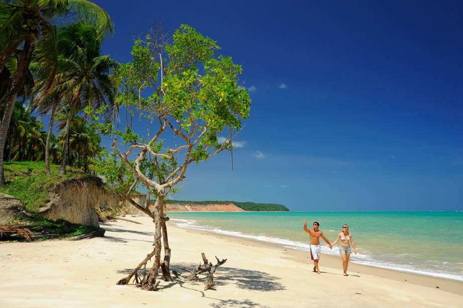 """É em <a href=""""http://viajeaqui.abril.com.br/cidades/br-al-barra-de-santo-antonio"""">Barra de Santo Antônio</a>,cidadezinha perto de Maceió, que fica uma das mais belas praias de Alagoas: a de <a href=""""http://viajeaqui.abril.com.br/estabelecimentos/br-al-barra-de-santo-antonio-atracao-praia-carro-quebrado"""" target=""""_blank"""">Carro Quebrado</a>, indefectível com suas falésias formadas por areias multicoloridas. Fique ligado: na maré alta, o mar encobre a pequena faixa de areia. Evite ir nestes horários"""
